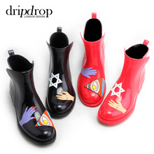 Short tube adult fashion spring summer hand painted rain shoes