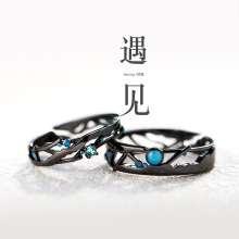 Flower bud original meet to ring Sterling Silver, Japan and South Korea simple Qixi gift, tide personality index finger couple ring pair