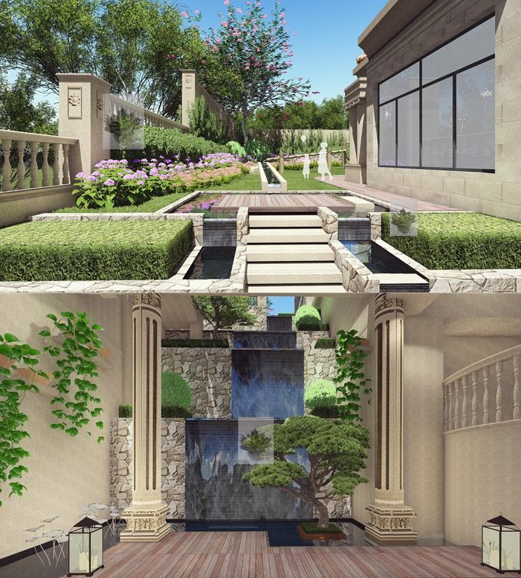 室内庭院水景设计_合肥庭院设计公司_桂离宫庭院枯山水设计