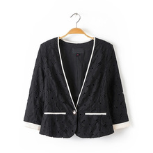 Women's new one button lace seven sleeve lace Blazer in autumn 2019 9946
