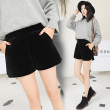 Loose outside wear new plush black show thin shorts
