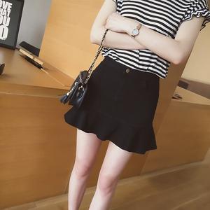 2016韩版夏季新款鱼尾包臀裙百搭修身显瘦纯色a字半身短裙子D309A字半身裙