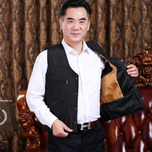 Autumn and winter middle-aged and old people's plush and thickened plus size cotton coat V-neck cotton vest