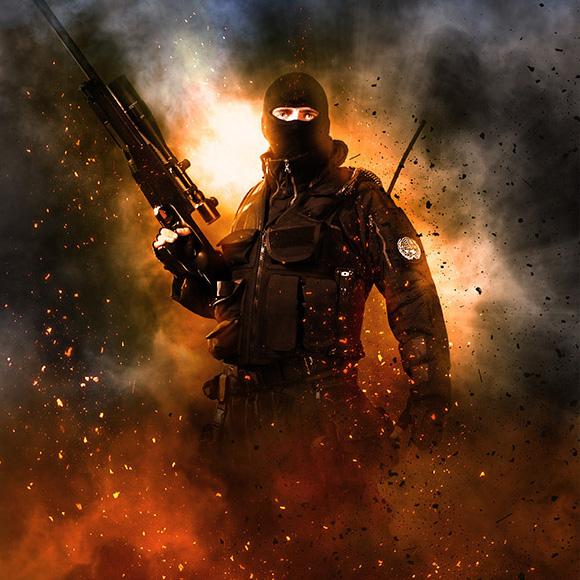 ps战士特效动作海报cosplay摄影后期素材调色技巧photoshop动作