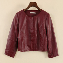 New women's fashionable round collar leather