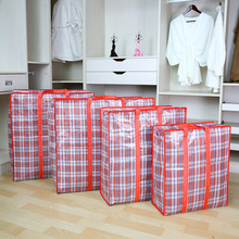 Large capacity waterproof PP Plaid woven bag hand packed moving bag thickened storage bag luggage bag