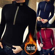 Winter flannel thickening, social tight neck collar, warm bottoming shirt