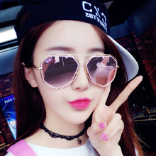 Personality 2017 star style round face polarized driving Sunglasses female fashion new net red eyes clear long face Sunglasses male