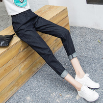 Autumn Black elastic waist relaxed high waist Korean version of slim black trousers
