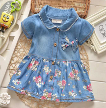 2019 new summer new soft children's wear girl's children's Denim floral dress baby skirt