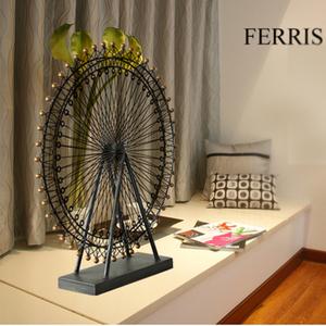 欧式家居客厅摆件复古铁艺摩天轮模型装饰创意结婚礼物饰品礼品铁艺摆件