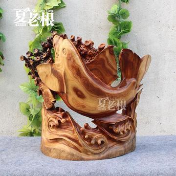 香樟木雕海底世界 木雕工艺品摆件 创意木雕 乔迁送礼领导 2157