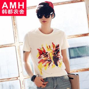 AMH男裝韓版2015夏裝新款修身圓領動物圖案印花男士T恤OC4007蕎