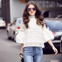 Luo Jia RMOJUL ladies spring 2017 new sweet lace collar bow tie trumpet sleeves water-soluble coat