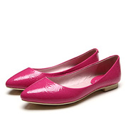 2014 Korean version of the shallow mouth pointed flat shoes patent leather embossed with a single flat shoes comfortable flat shoes sweet wild shoes