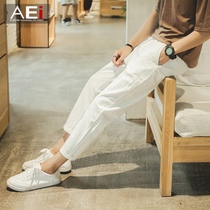 Spring trend of the Korean version of slim linen student youth pants