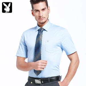 花花公子短袖商务衬衫男士纯白色修身职业男装休闲棉衬衣免烫寸衫男士职业装