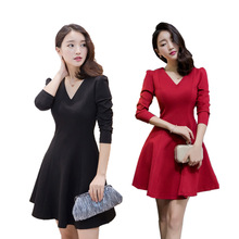 East Gate women's solid color long sleeve mid length A-line skirt in autumn and winter