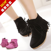 2014 new autumn and winter boots with flat black 40 flat fringed boots Duantong European leg of women's shoes boots