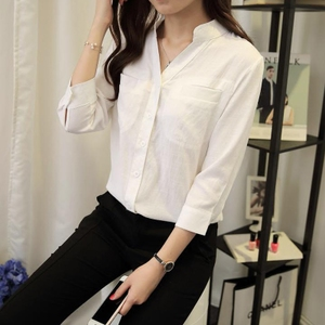 棉麻衬衫女韩范七分袖v领亚麻白衬衫宽松中长款立领长袖衬衣女夏长袖衬衫