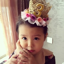 Baby baby girl Crown Princess Princess Korean children ins birthday lace flower crown ornament