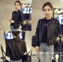 Loose new PU leather bomber leather jacket