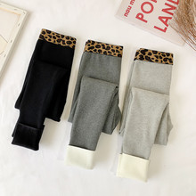 Autumn and winter plush and thickened leopard high waist thread black leggings