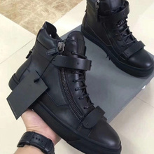 Black Knight high hide leather casual black drill 46 yards shoes