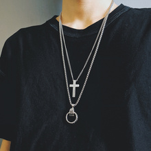 Hiphop ring necklace of Chaoren, INS, Tuku, Europe and America, trampoline for men and women, shaking tone pendants, hip hop multi-layer accessories