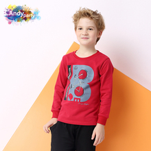 Andy party children's wear: big boy's round neck long sleeve T-shirt, casual cotton cartoon, autumn and winter base coat, new style