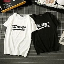 2019 summer's all-round Hong Kong fashion couple round neck short sleeve t-shirt men's loose casual junior students' bottoming shirt