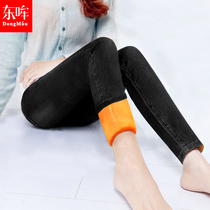 Dong Moo autumn and winter plus velvet high waist slimming stretch skinny jeans