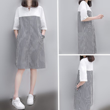 Pregnant women's summer clothes Korean pure cotton top medium length spring and summer large bottomed shirt skirt short sleeve pregnant women's dress