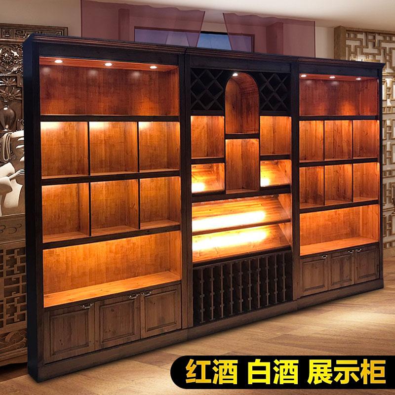 实木红酒展示柜 货架葡萄酒烟酒店白酒展示柜 红酒柜展示架陈列柜