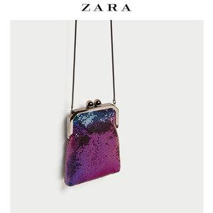 ZARA 新品  女包 金属网眼卡扣迷你信封包 18373204092女包女包