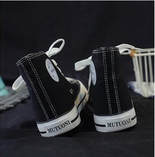 New style high top canvas Korean street photo small white shoes