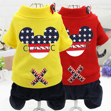 New dog clothes, autumn and winter Teddy clothes, four-legged clothes, VIP pet clothes, elastic Mickey's head