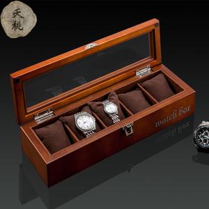 夭桃高档木质手表盒子五只装天窗手表展示盒首饰盒手链收藏收纳盒首饰盒