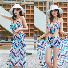 2019 new bikini swimsuit women's three piece small chest collection fashion holiday hot spring swimsuit