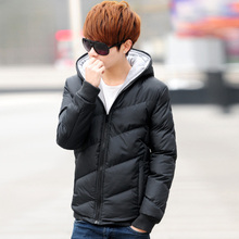 Korean youth hooded and thickened down jacket
