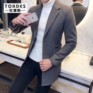 2017冬季潮男士修身中长款毛呢风衣 青年韩版英伦翻领呢大衣外套风衣