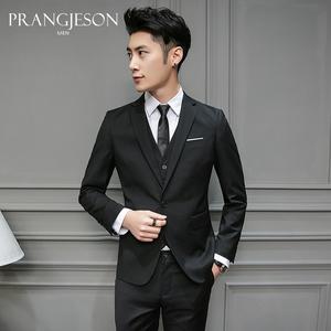 西服套装男士三件套免烫韩版修身西装商务正装新郎结婚伴郎团礼服男士西服套装