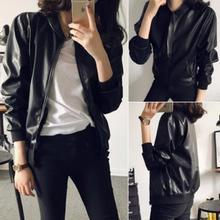 Korean spring and autumn baseball uniform Yuansu motorcycle leather coat