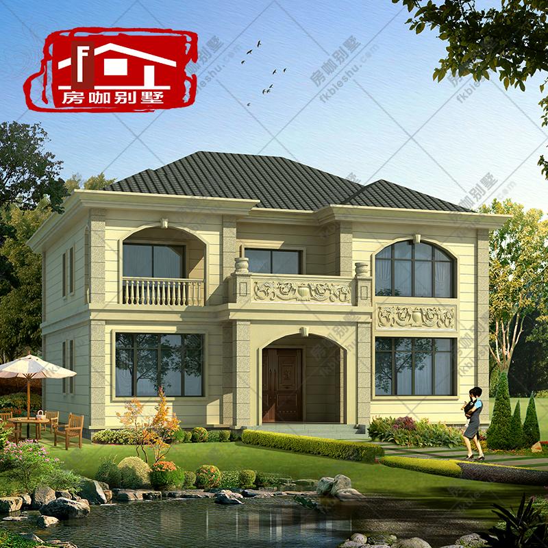 欧式二层别墅设计图纸农村自建房挑空复式客厅水电全套施工效果图