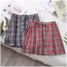 A girl's skirt with all kinds of plaid and pleats