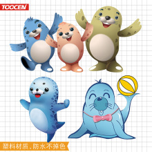 Car exterior decoration scratches cover waterproof funny cute sea lion cute trend 3D personalized car sticker
