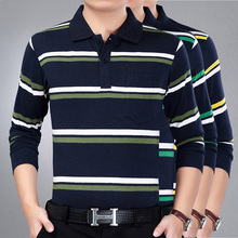 Long-sleeved T-shirt Male Spring Lapel Middle-aged and old age printed striped loose jacket Middle-aged and old age leisure dad T-shirt enlarged