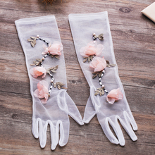 Wedding gloves, wedding accessories, accessories, simple wedding, white soft yarn flowers, bride gloves, all medium length.