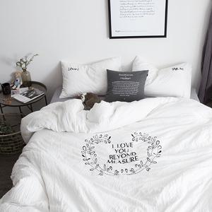 简约绣花水洗棉四件套柔软亲肤日式床笠1.5/1.8m床单被套纯色床上四件套
