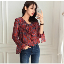 2017 spring fresh and floral chiffon shirt womens long sleeve loose small lotus leaf collar Korean student trumpet sleeves blouse